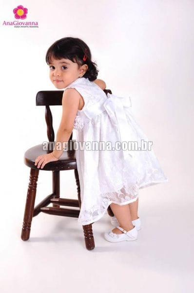 Vestido Infantil de Renda Branco para festa