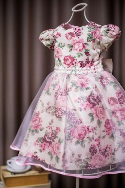 Vestido Infantil de Festa Princesa Floral Rosê