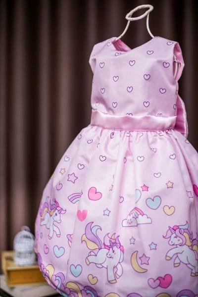 Vestido Infantil Unicornio para festa de aniversário