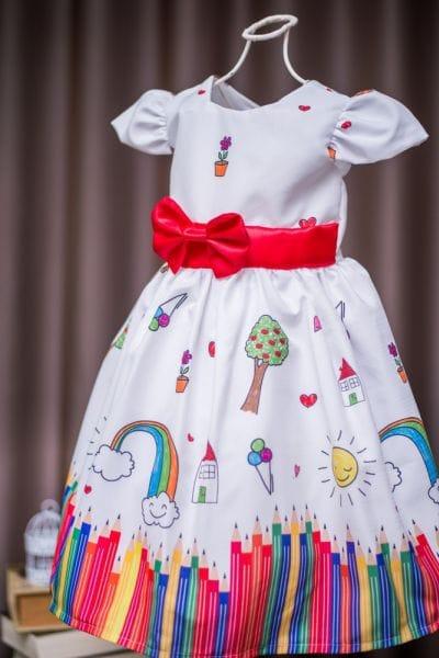Vestido de Festa Infantil Aquarela