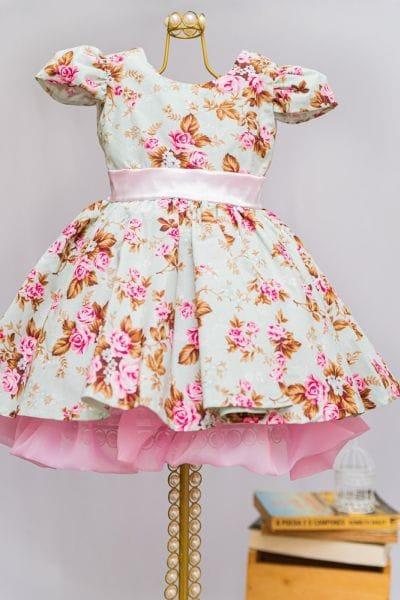 Vestido Infantil Jardim Encantado Floral para Festa