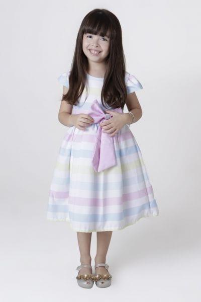 Vestido Infantil de Festa Listrado