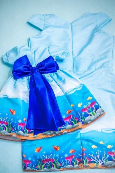 Vestidos Mãe e Filha Fundo do Mar