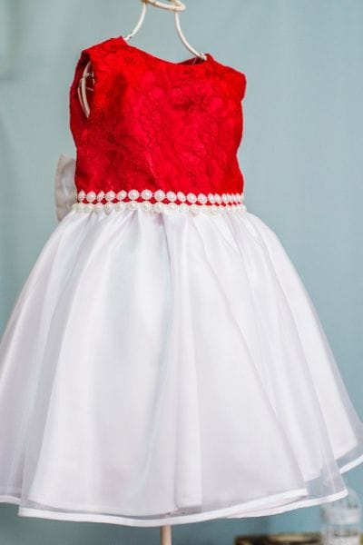 Vestido Infantil Princesa Vermelho e Branco