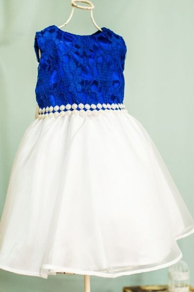 Vestido de Festa Infantil Azul e Branco