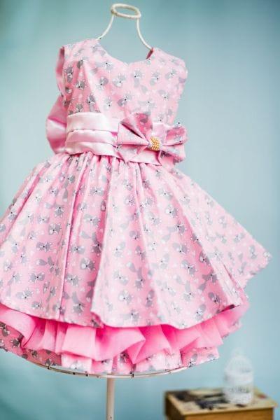 Vestido Infantil Raposinha Rosa