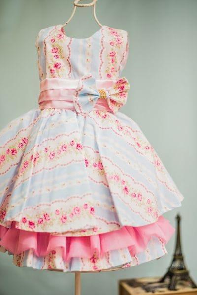 Vestido Infantil de Festa Floral Azul