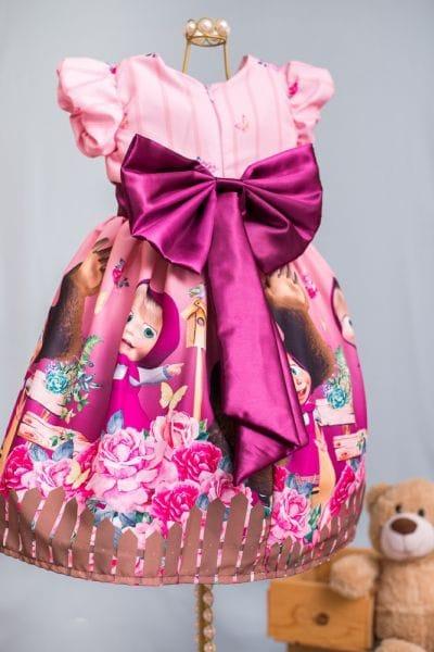 Vestido Festa Infantil Masha e o Urso Luxo
