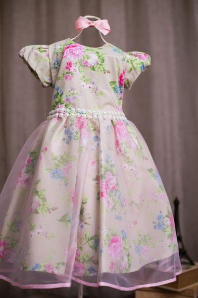 Vestido Para Festa Infantil Floral Verde
