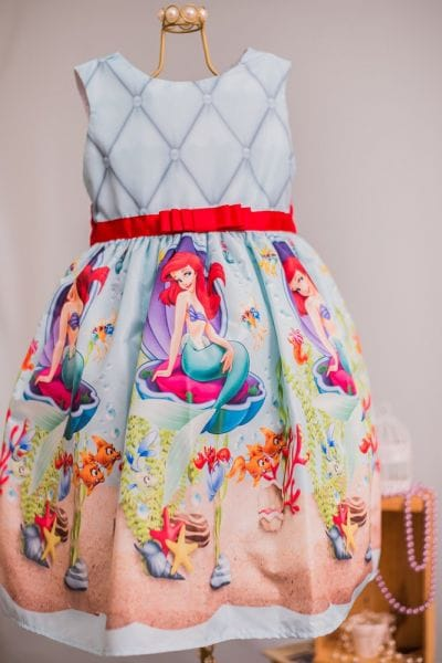 Vestido Infantil de Festa da Princesa Ariel