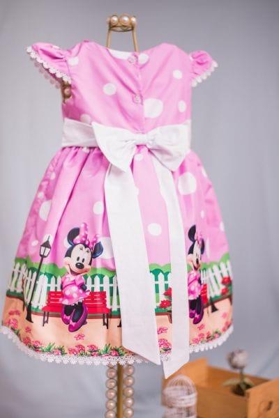 Vestido de Festa Minnie Rosa para aniversário
