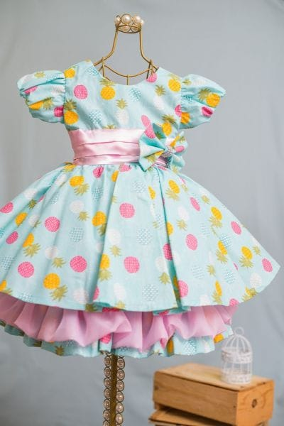Vestido Infantil Frutas Abacaxi