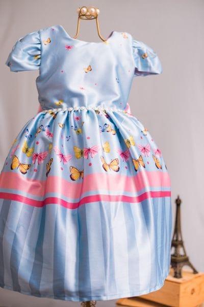 Vestido de borboleta infantil azul
