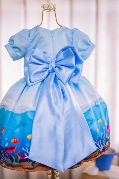 Vestido Infantil Fundo do Mar