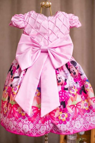 Vestido Minnie Rosa Luxo Bordado