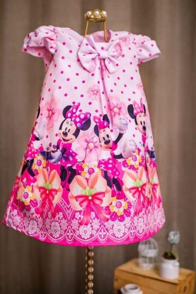 Vestido da Minnie Rosa Trapézio
