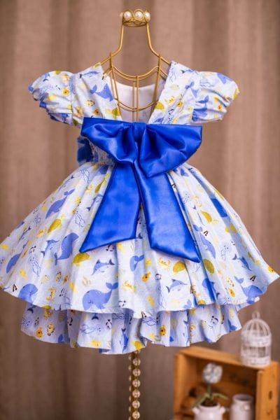 Vestido para festa Fundo do Mar infantil
