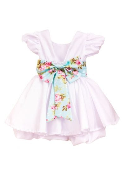 Vestido Infantil Branco com Faixa Floral