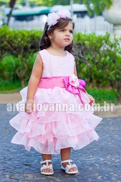 Vestido infantil de festa Princesa Rosa
