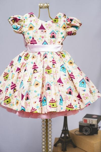 Vestido Infantil de festa Passaros