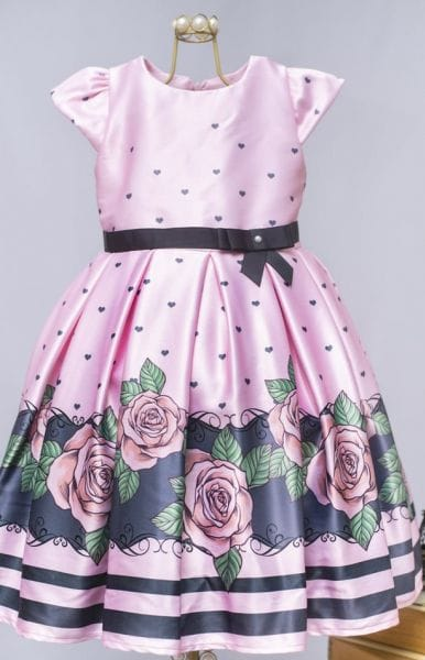 Vestido rosa de festa infantil