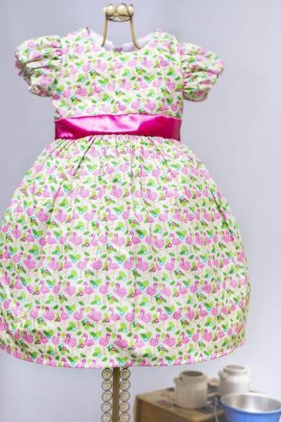 Vestido Infantil com Estampa Flamingos
