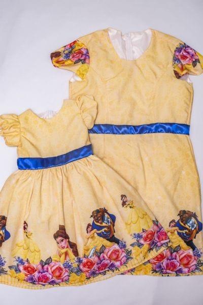 Vestidos Mãe e Filha Bela e a Fera