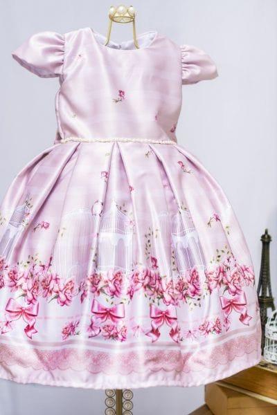 Vestido de Festa Infantil Gaiolas e Flores