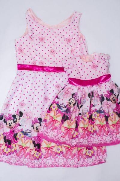 Vestidos Mãe e Filha Minnie Rosa Luxo
