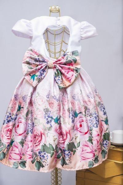 Vestido de Festa Infantil Floral Rosa com Branco