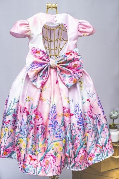 Vestido de Festa Infantil Floral Rosa