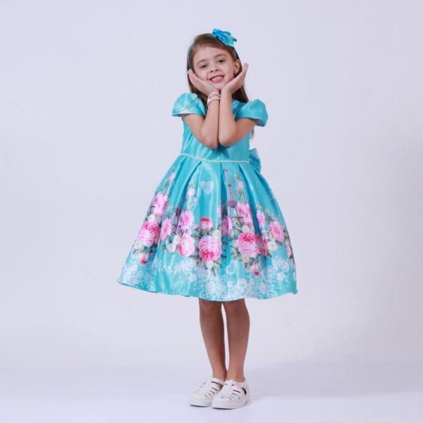Vestido floral infantil de festa