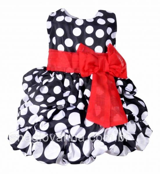 Vestido Minnie Vermelho e Preto