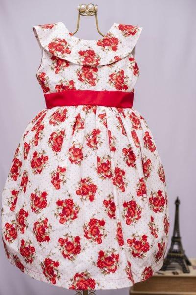 Vestido Floral Infantil Vermelho