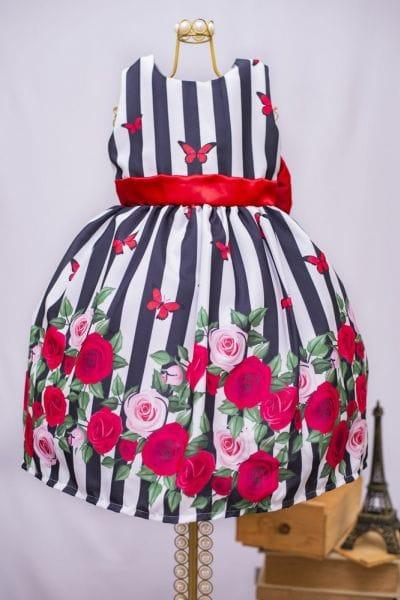 Vestido Infantil Festa Listras e Flores