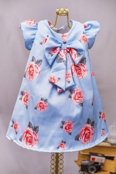 Vestido Infantil de Festa Floral Azul e Rosa