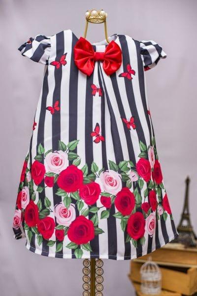 Vestido de Festa Infantil Floral Trapézio