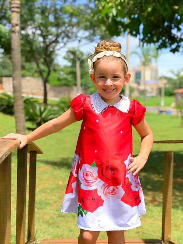 Vestido Trapézio Infantil Floral