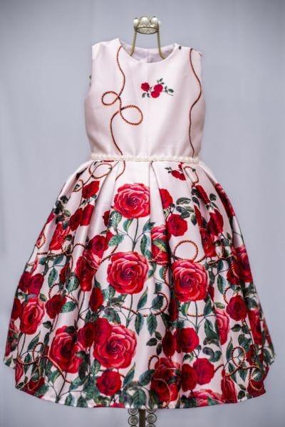 Vestido de Festa Infantil Floral Rosas Vermelhas