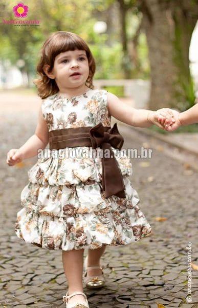 Vestido Infantil Balonê Floral Marrom