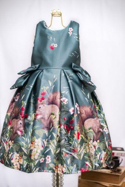 Vestido de Festa Infantil Esquilos