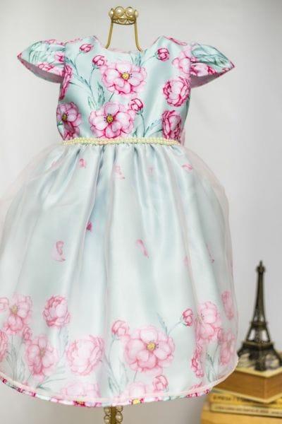 Vestido Infantil Verde Tiffany com Rosa