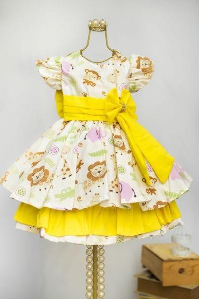 Vestido Infantil de Festa Safari