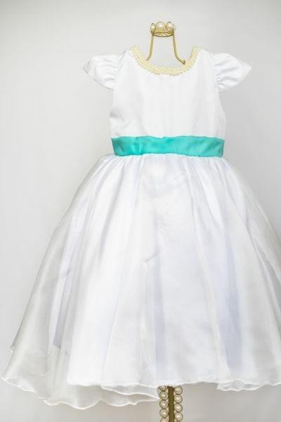 Vestido Infantil Branco com Verde Tiffany