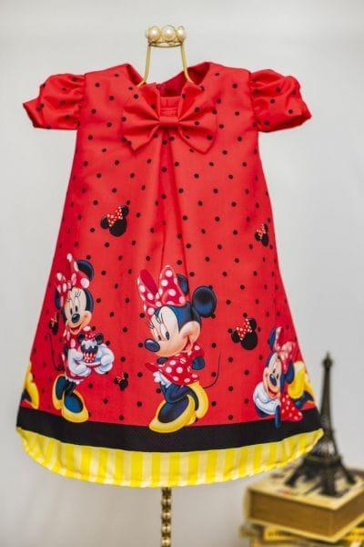 Vestido da Minnie Vermelha Trapézio