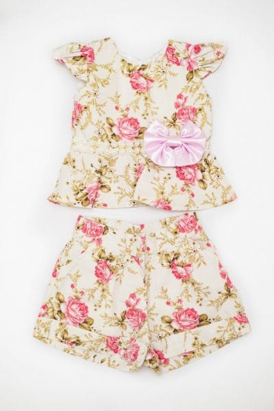 Conjunto Infantil Feminino Floral Rosa