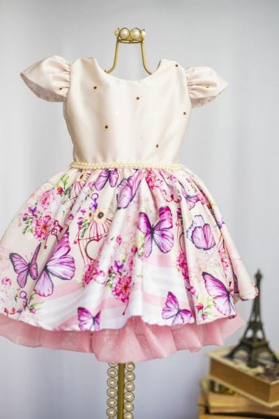 Vestido Infantil com Borboletas
