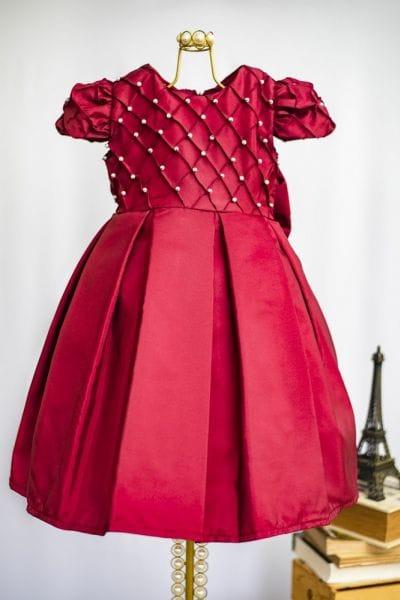 Vestido de Festa Infantil Marsala