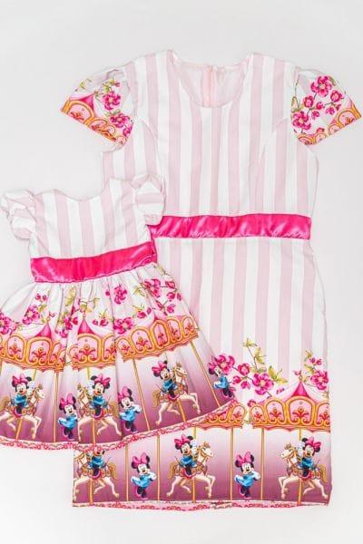 Vestido de Festa Minnie Rosa Mae e Filha