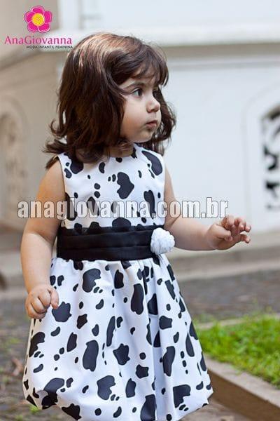 Vestido Infantil Fazendinha Baby Preto e Branco